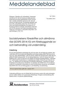 Socialstyrelsens föreskrifter och allmänna råd (SOSFS 2014:10) om förebyggande av och behandling vid undernäring